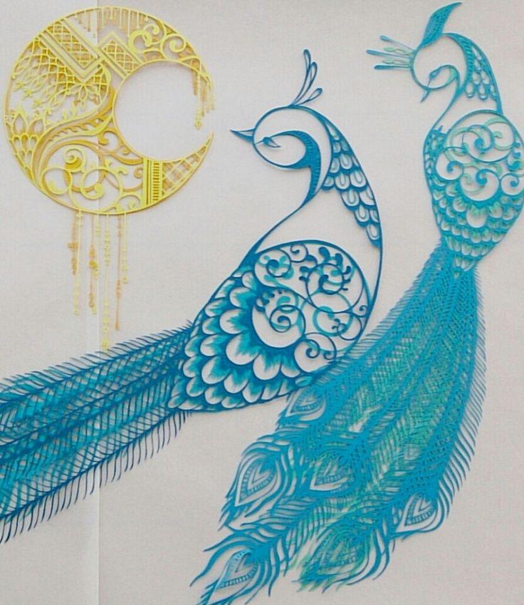 切り絵「花鳥風月」孔雀2|コトコト切り絵中