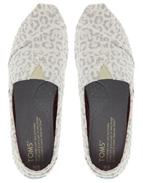 TOMS Silver Snow Leopard Vegan Flat Shoes