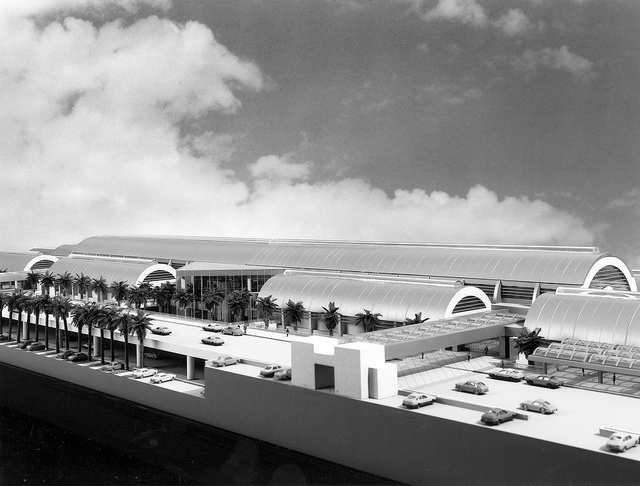 Architectural model of new John Wayne Airport Terminal, 1980s by Orange County Archives, via Flickr
