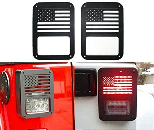 Sunluway® 2 X Tail lamp Tail light Cover Trim Guards Protector for Jeep Wrangler Sport X Sahara Unlimited Rubicon 2007-2015 (USA Flag)