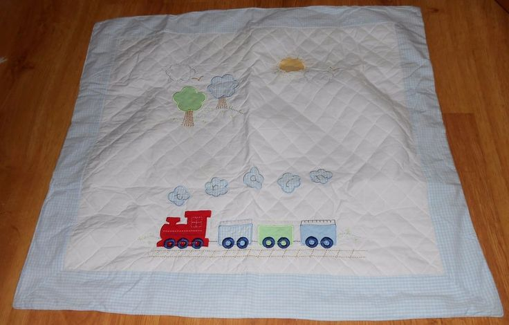 Baby Blanket Train Quilted Blue White Gingham Sun Tree Sun Nursery Engine #Unknown