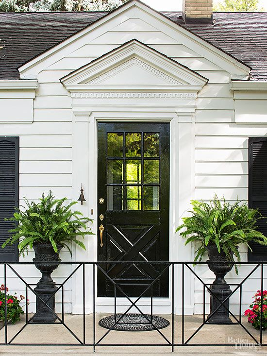 This front door proves bright colors aren't necessary to turn heads.