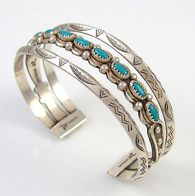Vintage Bell Trading Post Shop Stamped Sterling Turquoise Cuff Bracelet PS BT | eBay