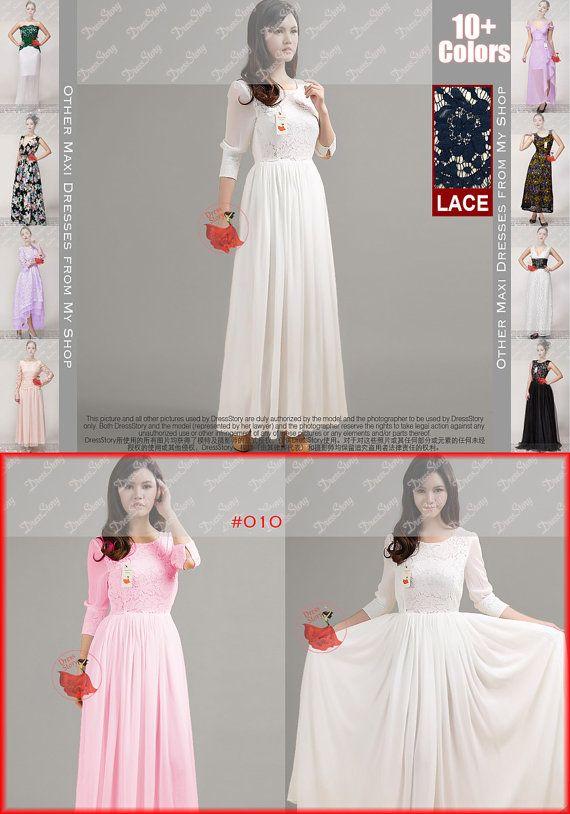 White Lace Maxi Dress  Chiffon Maxi Dress  Pink Lace by DressStory