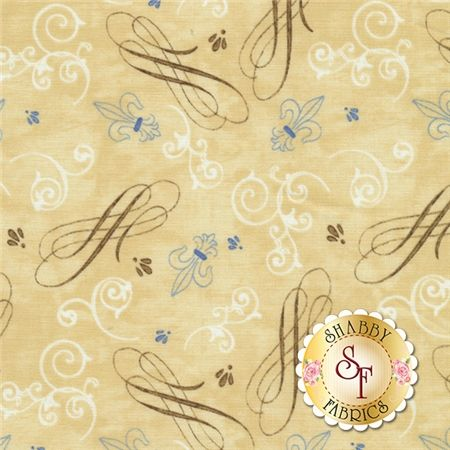 A Ticket In Hand 42393-219 Scrolls & Damask Dk Ivory by Cynthia Coulter for Wilmington Prints