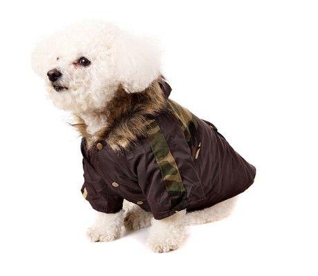 Camouflage Dog Parka with Fur Trimmed Hood #dogcoat #dogparka