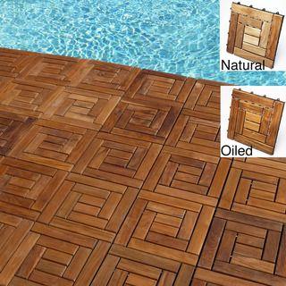 Le Click Style Spiral Teak Interlocking Deck Tiles (Set of 10)   Overstock.com