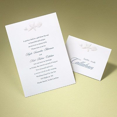 Sea Shells A Bright White Card Invitation Is Accented Beautifully By A  Pearl Embossed Sea Shell And Starfish Design At The Top With Your Wedding  Day Wording ...