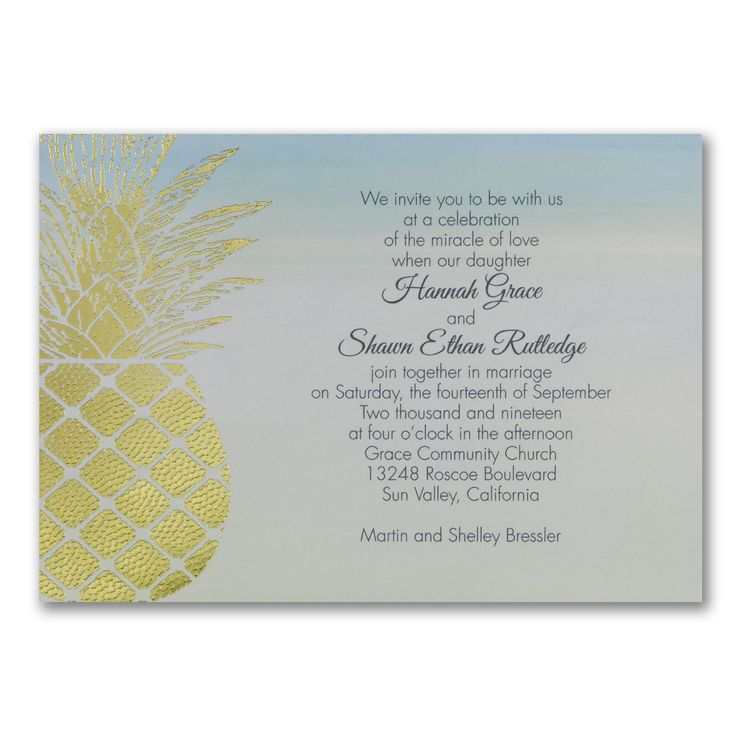 Outdoor Wedding Ideas - Gleaming Pineapple - Invitation > Wedding Invitations | Occasions In Print, LLC | SCOTTSDALE, AZ (Invitation Link - http://occasionsinprint.carlsoncraft.com/Wedding/Wedding-Invitations/3254-TWS39880-Gleaming-Pineapple--Invitation.pro)