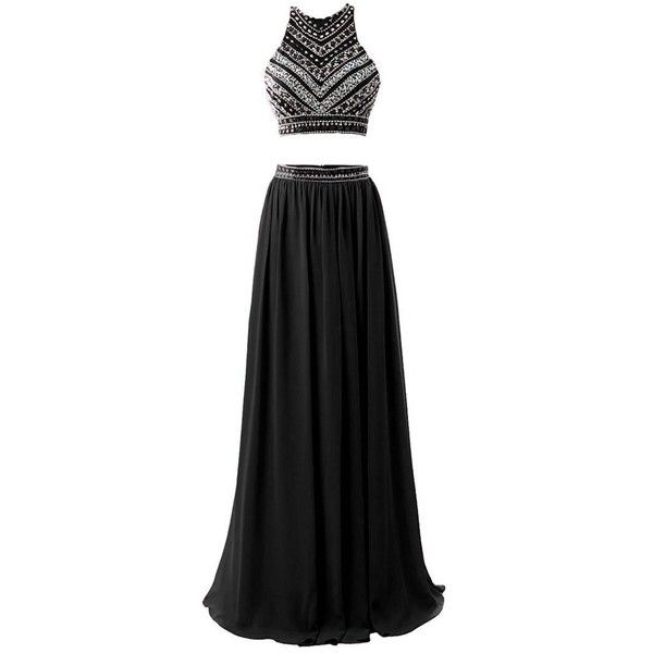 HEIMO Women's 2017 Two Pieces Beaded Evening Party Gowns Sequined... (330 RON) ❤ liked on Polyvore featuring dresses, two piece prom dresses, formal cocktail dresses, cocktail party dress, long prom dresses and long cocktail dresses