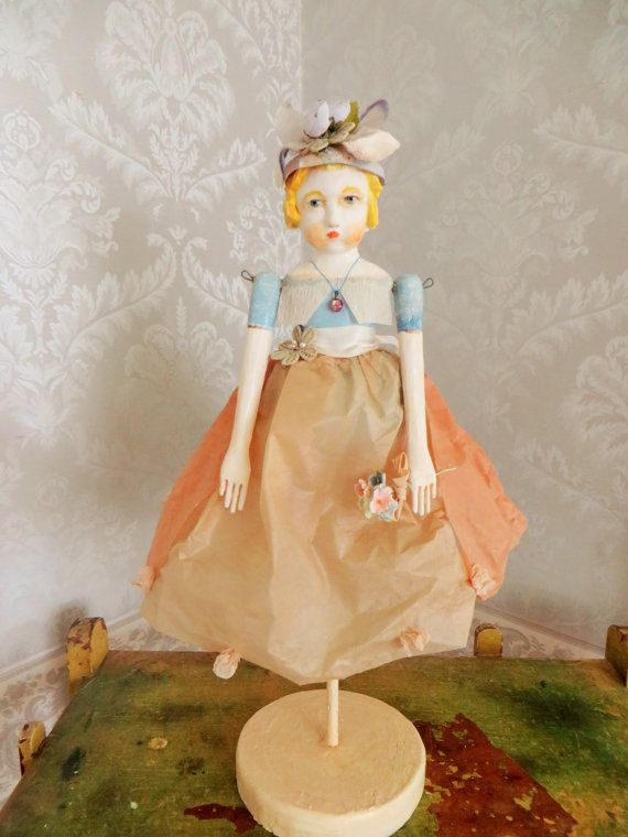 Nostalgic Folk Art,Carol Roll,paper mache mixed media sculpture, vintage style doll figure