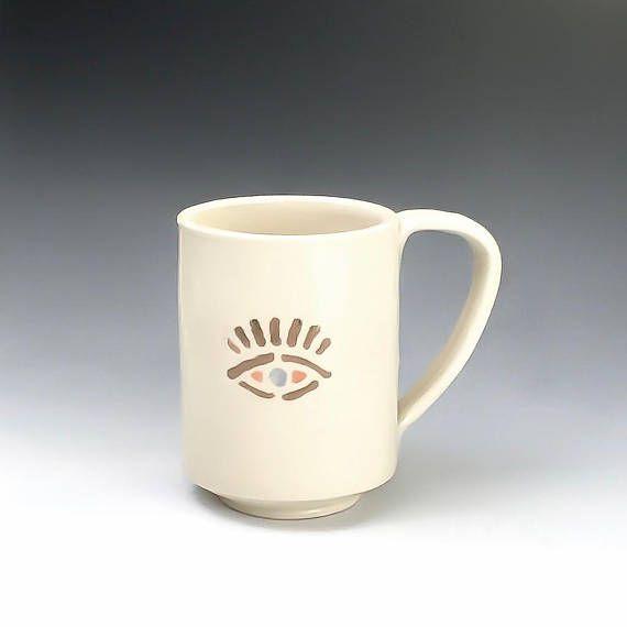 Handmade Coffee Mug Eye Mug Pottery Mug Evil Eye Talisman