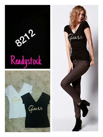 Guess v-neck top  High quality fabric ♡ stretch  ♡ all size