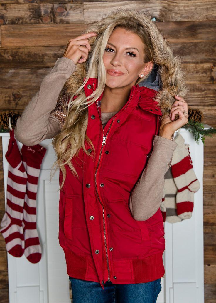 Faux Fur Trimmed Hooded Vest, Hooded Vest, Vest,  Modern Vintage Boutique, Shopmvb, Women's Boutique, Fashion, Style