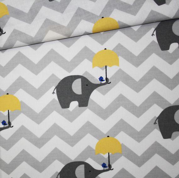Tissu 100% coton imprimé 50 x 160 cm, motif éléphants gris avec parapluie jaune…
