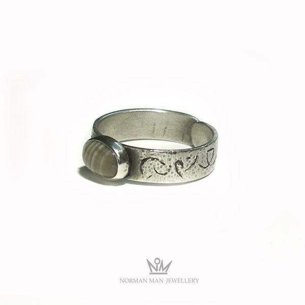 Srebrny Pierścień|krzemień pasiasty|Silver Ring|Handmade|By Norman Man Jewellery