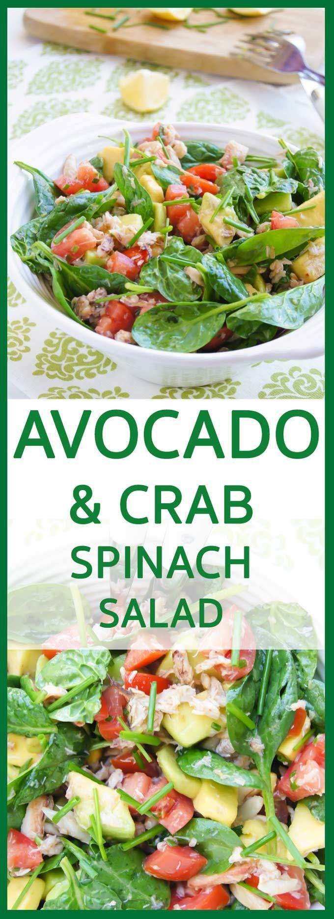 Fresh, juicy and creamy Crab, Avocado, Tomato and Spinach Salad recipe is really delicious, 10 min, easy and healthy lunch – perfect crowd pleaser. INGREDIENTS 230g (8 oz) white crab meat – I used crab claws 2-3 handfuls of fresh baby spinach leaves 3 plum tomatoes – sliced into a bite size pieces 3 HassMore