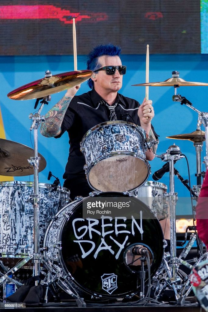 Drummer Tre Cool as Green Day perform on ABC's 'Good Morning America' at Central Park on May 19, 2017 in New York City.