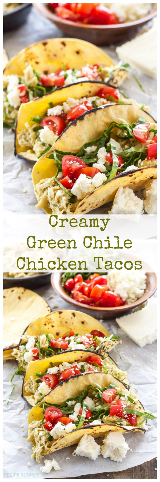 Creamy Green Chile Chicken Tacos   5 ingredients and a slow cooker are all you need for this delicious taco meat!