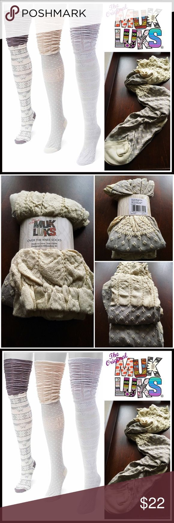 """MUK LUKS BOOT SOCKS Tall Over the Knee Socks 💟NEW WITH TAGS💟 MUK LUKS BOOT SOCKS Tall Over the Knee Thigh Highs    * Super soft, high quality textured & embroidered fabric  * Stretch-to-fit construction w/crochet lace ruffle & ribbed cuffs  * Over the knee length & thigh high  * One size fits most, sock sizes 9-11  * Stay up elasticize cuff style  * Approx 25"""" long   FABRIC-Microfiber, nylon, 3% spandex; Machine wash cold COLOR-Oatmeal, Heather grey combo   ❌NO TRADES❌ ✅BUNDLE DISCOUNTS ✅…"""