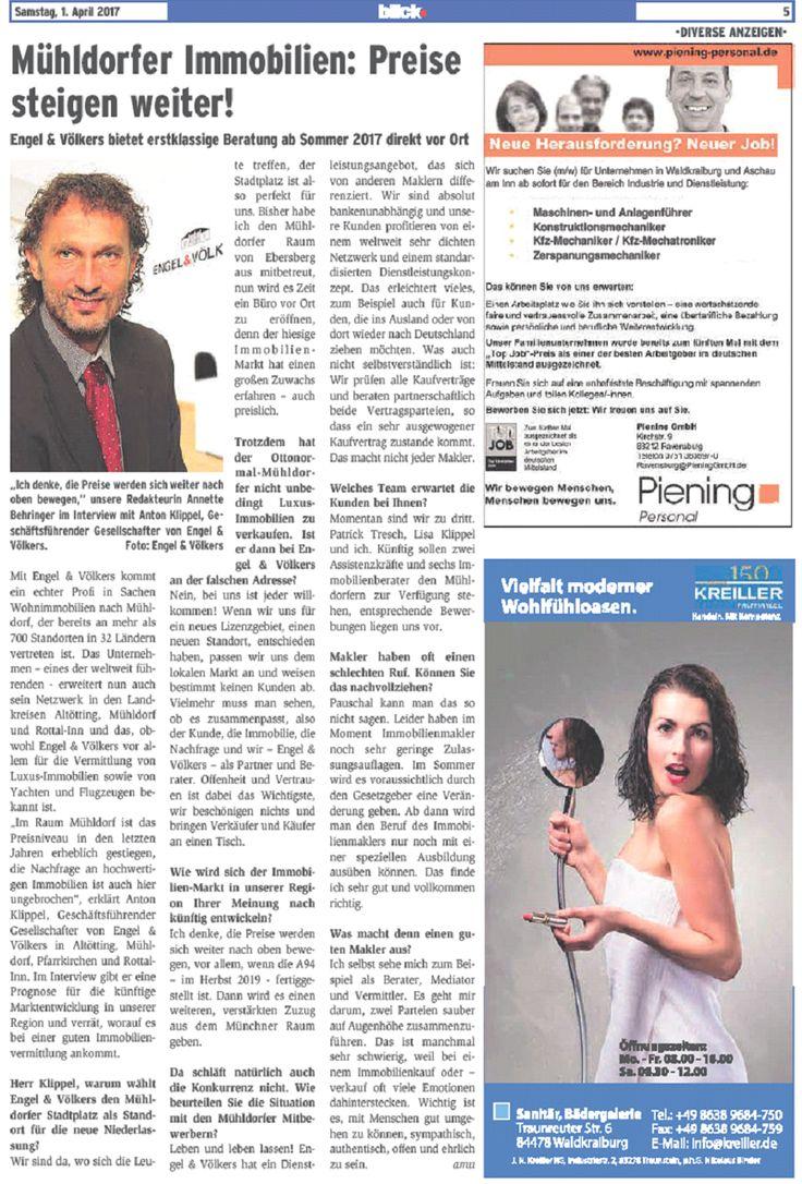 Mühldorf am Inn - Interview, Blickpunkt, Inn-Salzach, Zeitung, Wochenblatt, Extrabeilage, Redakteurin, Engel & Völkers, E&V, Immobilien, Immobilien kaufen, Immobilien verkaufen, Haus kaufen, Haus verkaufen, Immobilien in Mühldorf, Immobilien in Mühldorf kaufen, Immobilien Mühldorf, Immobilien Altötting, Immobilien in Altötting kaufen, Immobilien Altötting, Immobilien Rottal-Inn, Immobilien Rottal-Inn kaufen, Immobilien in Rottal-Inn kaufen, A94, Region Mühldorf, Kaufverträge, Kaufvertrag…