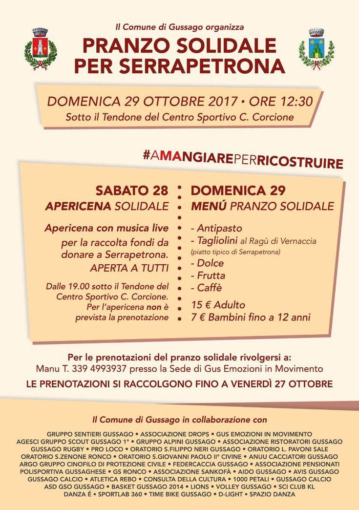 Sabato 28 e domenica 29 ottobre apericena e pranzo solidale per Serrapetrona - http://www.gussagonews.it/apericena-pranzo-solidale-serrapetrona-ottobre-2017/