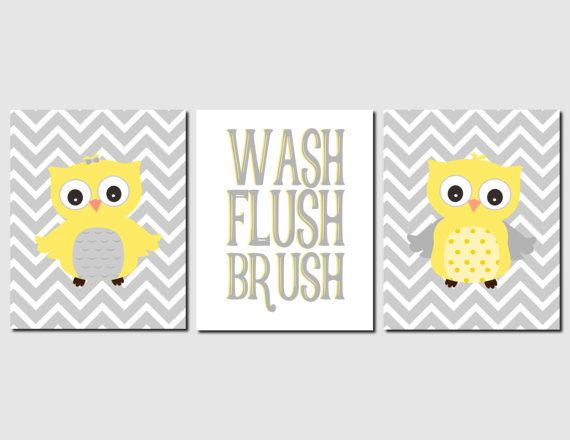 Yellow Gray Bathroom Wall Art Owl Bathroom Decor Kids by vtdesigns