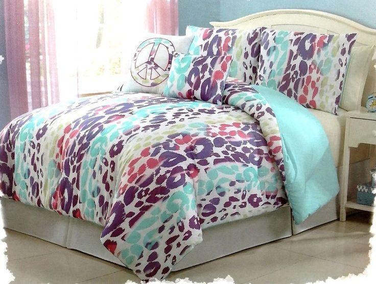 girls bedding blue pink purple leopard bed in a bag comforter set twin molly elle. Black Bedroom Furniture Sets. Home Design Ideas