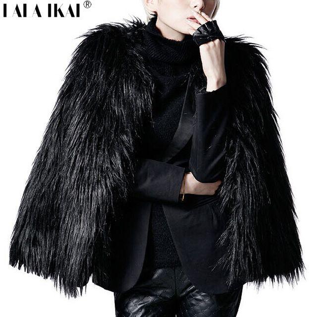 Kadınlar Kış Siyah Kürk Uzun Kollu Faux Fur Kabanlar Lady Kısa Stil Kürk Ceket SWQ0077-5