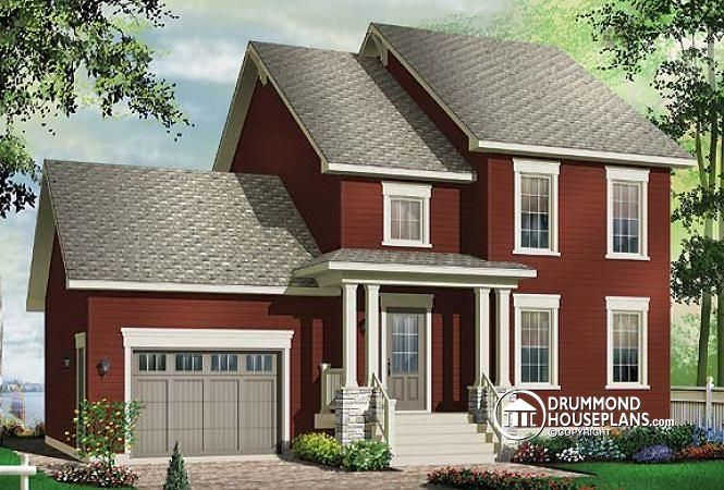 W3944 3 bedroom panoramic view transitional home with for Garage mezzanine plans