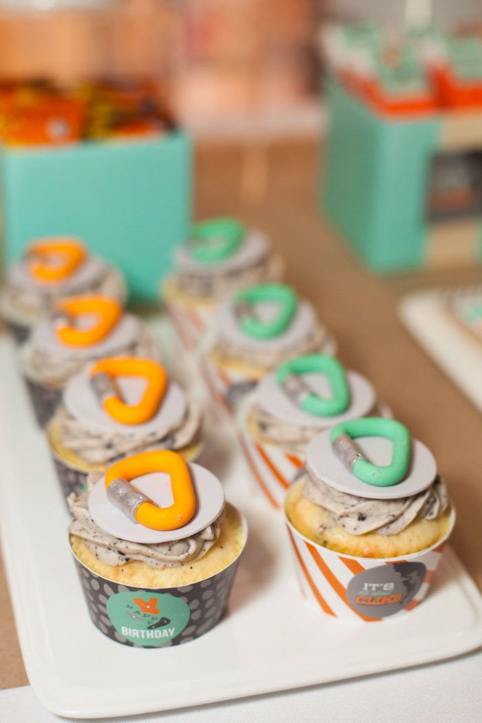 Rock Climbing Cupcakes + Toppers | Rock Climbing Birthday Party Ideas | by Jessica Wilcox of Modern Moments | www.modernmomentsdesigns.com