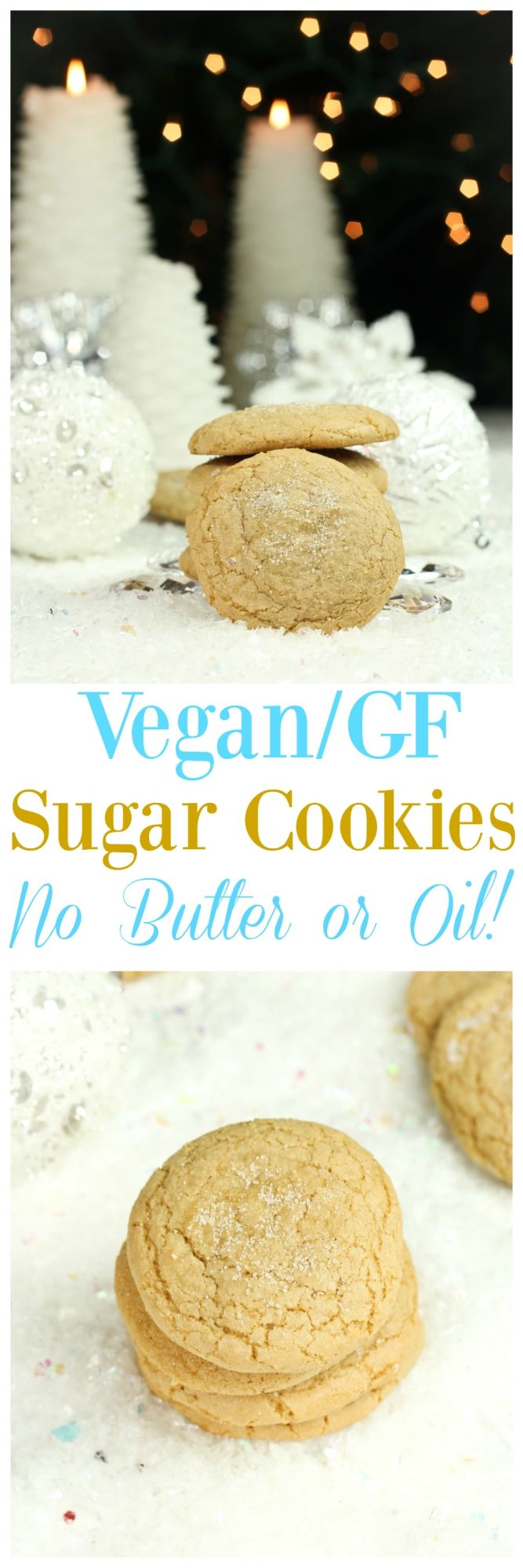 ONLY 8 ingredients! Yes, it is possible to make Sugar Cookies that are delicious with NO oil or butter! These are vegan, gluten-free and soft and sweet! No chilling of the dough required and they are ready in half an hour!