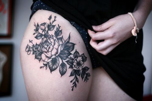 tattoo, black and grey, top of thigh, placement, floral, design