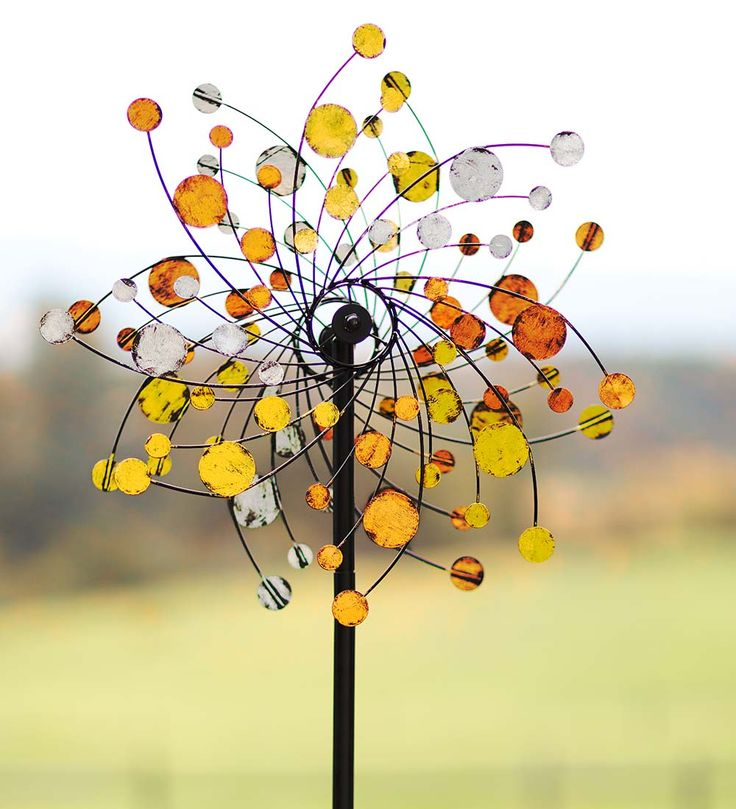 Orange, Silver and Gold Dots Metal Wind Spinner in Wind Spinners
