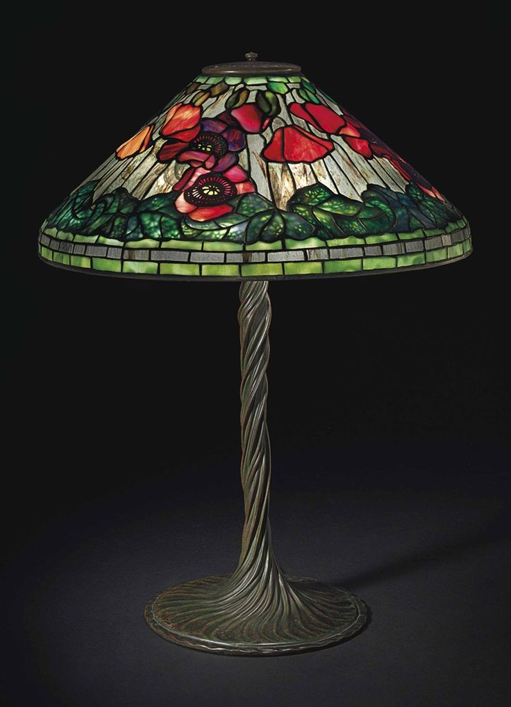 "** Tiffany Studios, New York, Favrile Leaded Glass and Patinated Bronze ""Poppy"" Lamp."