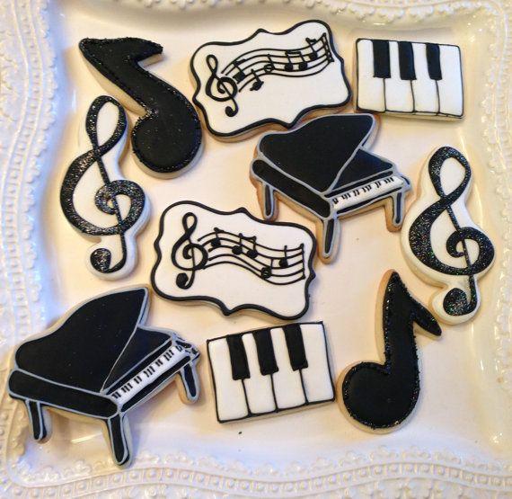 12 Piano Recital musical cookies by BakeMyDayCookies on Etsy, $36.00