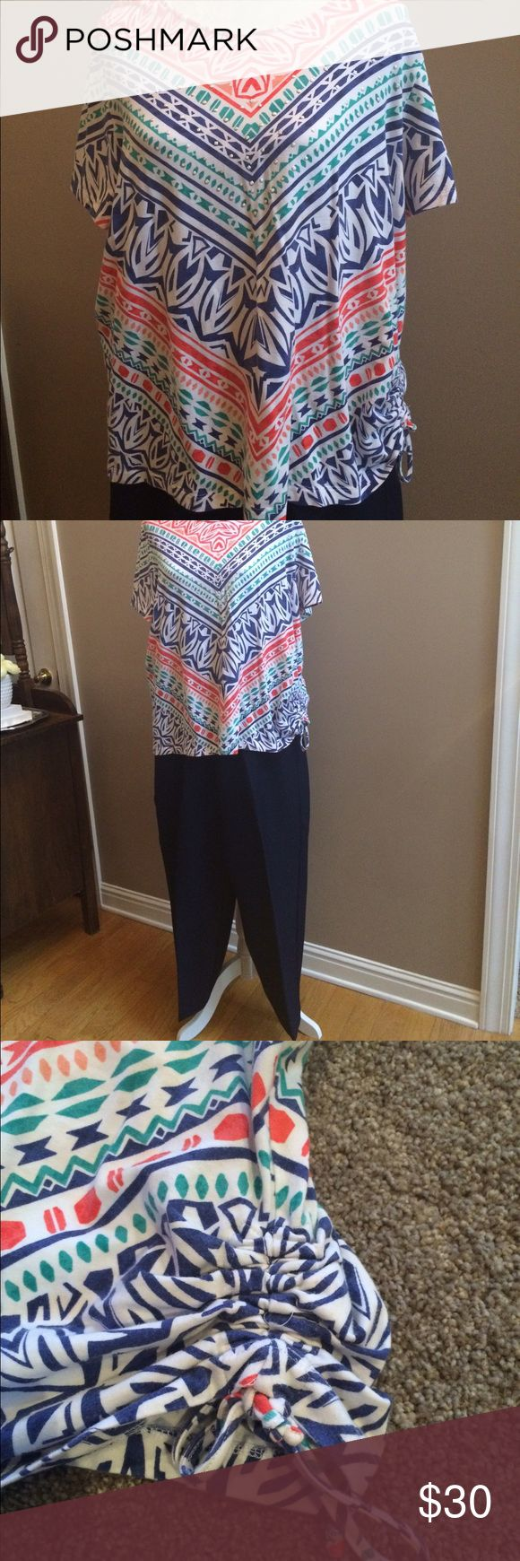 Women's shirt & pants set Alfred Dunner multi color shirt with one side of ruching, size XL. NWT Alfred Dunner navy elastic waist pants, size 16 short Alfred Dunner Pants Trousers