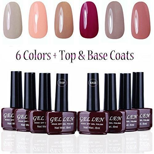 Gellen UV Gel Nail Polish Kit 6 Colors  Base & Top Coats 8ml Each Manicure Salon Set #5