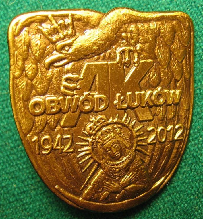Odznaka AK. Obwód Łuków. 1942-2012.