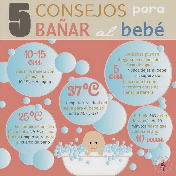 Aquí les dejo una infografía con 5 consejos para bañar al bebé          fuente: Psico ayuda infantil
