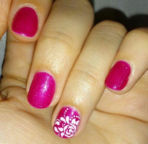 Rose nail art (semipermanent nail polish by Xnail)
