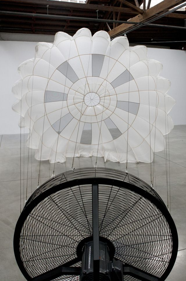 "Carsten Nicolai, ""pionier I"", parachute, wind machine, sound proof paneling; installation dimensions variable; © 2011 Carsten Nicolai /Artists Rights Society (ARS), New York / VG Bild-Kunst, Bonn / Photo by: Arturas Valiauga"