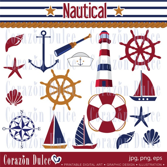 NAUTICAL Digital Clip Art Set  Personal and by corazondulce, $5.50