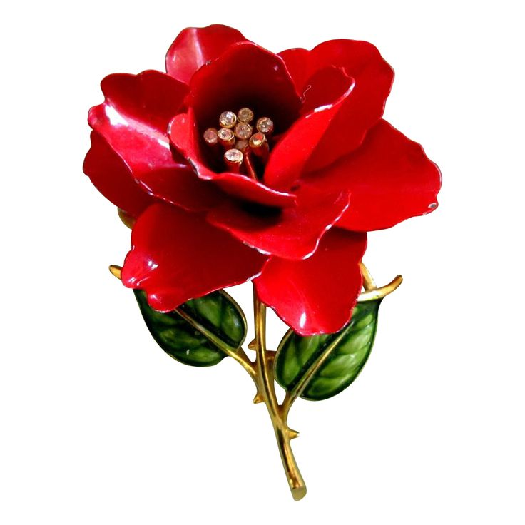 July Red and summer flowers = Trifari Red Enamel Rose Flower Pin - Advertisement Piece