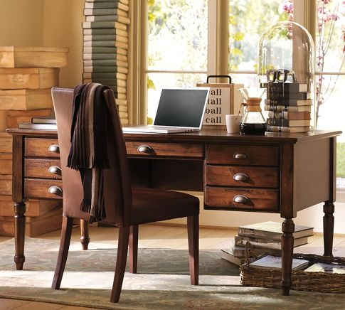 My home office would love this desk. Printer's Keyhole Desk | Pottery Barn