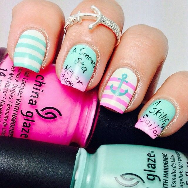 Bright Pink and Tiffany Blue Nautical Nails With Anchor ⚓ - 116 Best NAUTICAL / NAVY / MARINE NAIL ART Images On Pinterest