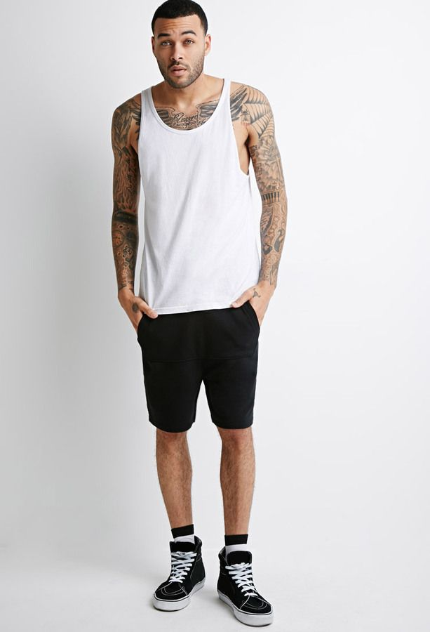 $12, Black Shorts: 21men 21 Kangaroo Pocket Drawstring Shorts. Sold by Forever 21. Click for more info: https://lookastic.com/men/shop_items/246597/redirect