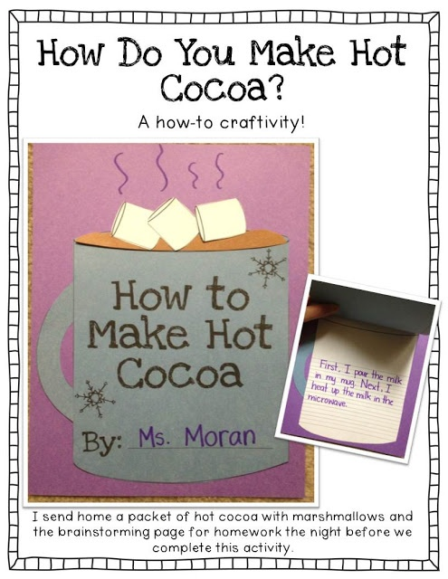 How to make hot cocoa craft & tons of other winter writing prompts and activities! (Informational writing) how cute would it be to ask my students how they think they make this as well as how do you think Santa delivers presents!