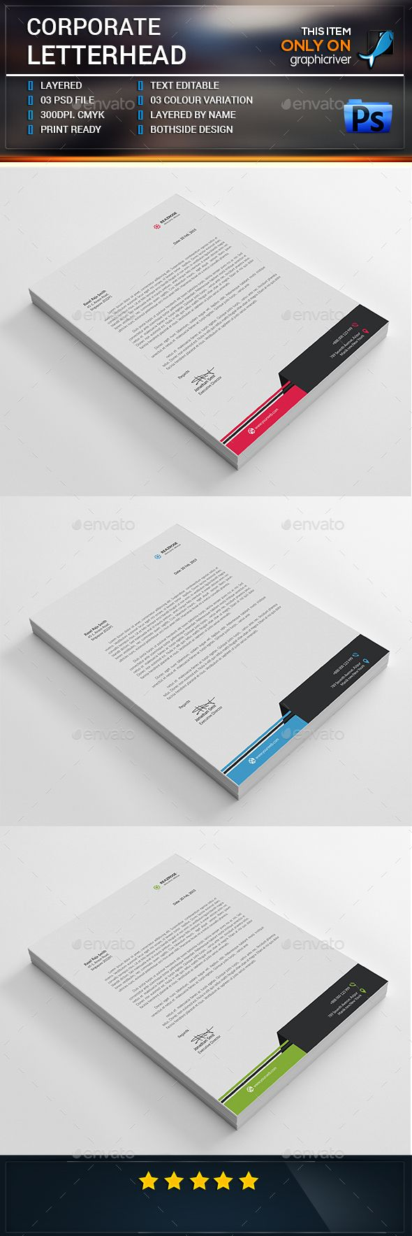 Corporate Letterhead Stationery Print Templates Download