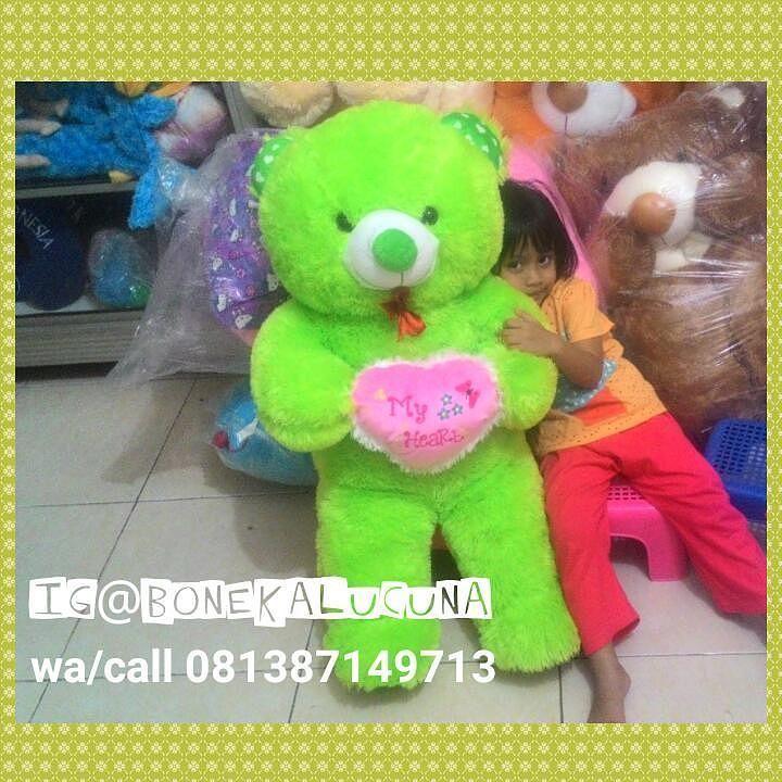 Ready Teddy Bear jumbo 75cm  Warna  Hijau  Harga 135rb  Wa /call silakan ke 081387149713  #bonekalucuna #bonekamurah #bonekabear #teddybear #bearhijau #bearjumbo
